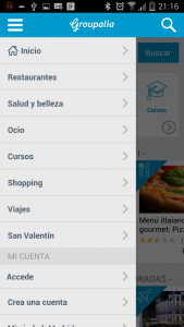 Groupalia Menu