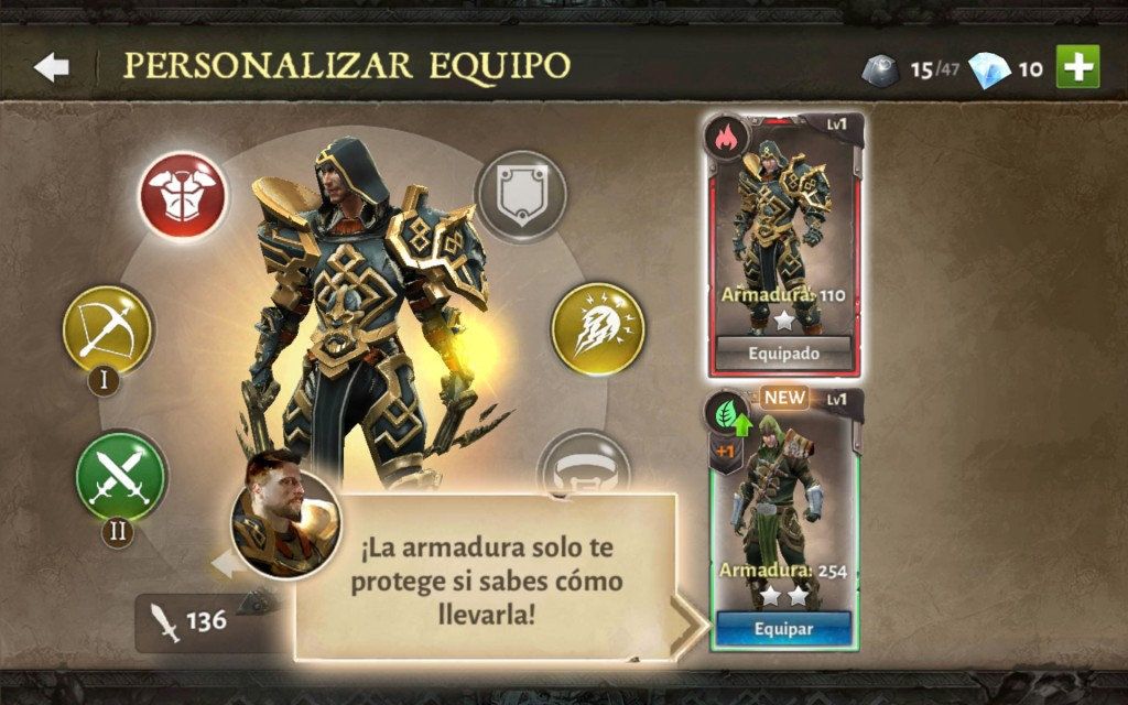 Dungeon Hunter V tutorial personalizar equipo escoge armadura
