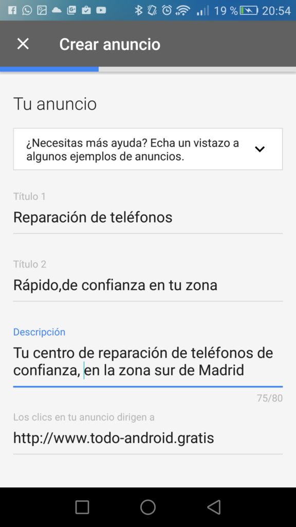 AdWords Express crea tu anuncio