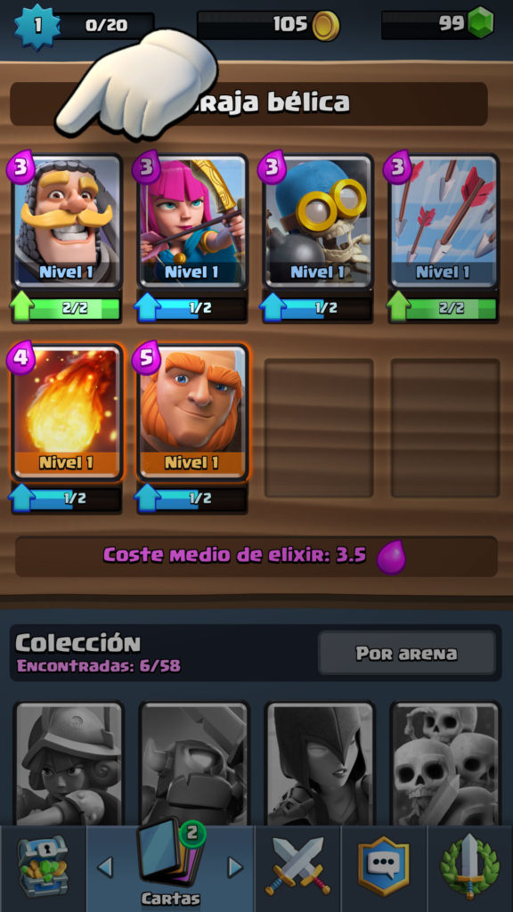 Clash Royale seleccionar carta